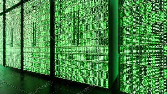 Antecedentes tecnológicos de big data servers. Concepto tecnológico futuro infraestructura Internet 3d render