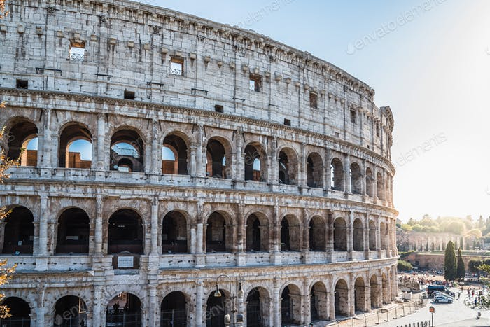 Outdoor view of The Colosseum or Coliseum, also known as the Flavian Amphitheatre