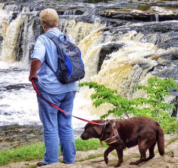 Hiking - woman and companion dog
