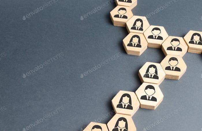 Símbolos de los empleados en las cadenas de hexágonos