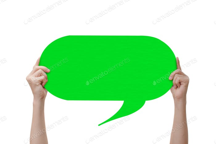 Hand holding an green empty speech bubble, Isolated on white background with clipping path.
