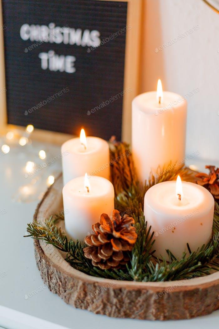 Christmas decor. Candles. Holidays.
