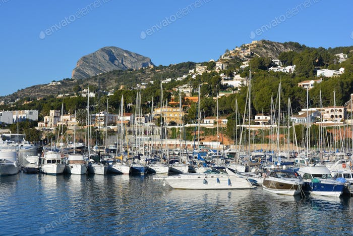 Boats in harbour, Javea, Alicante Province, Spain