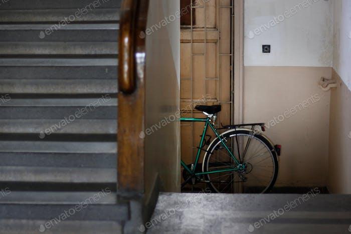 A bike in a corridor