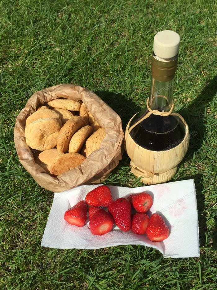 Traditional afternoon picnic with italian vin santo, strawberries and dry biscuits