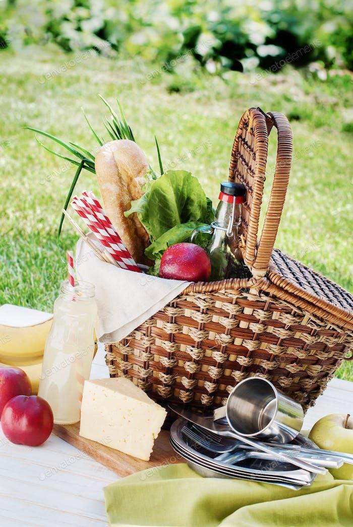 Picnic Wattled Basket Setting Food Drink Summer Time