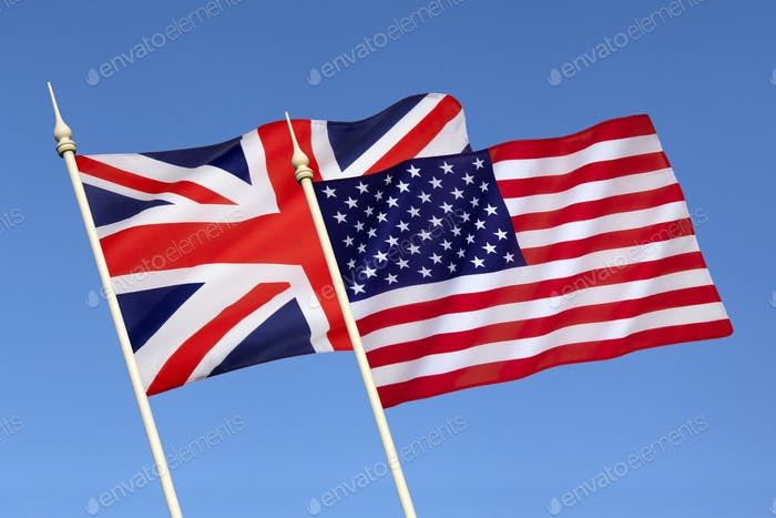 Flags of the United States and Great Britain