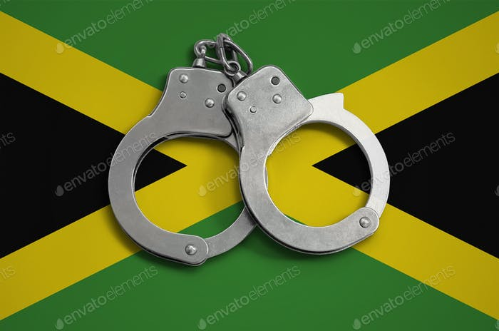Jamaica flag  and police handcuffs