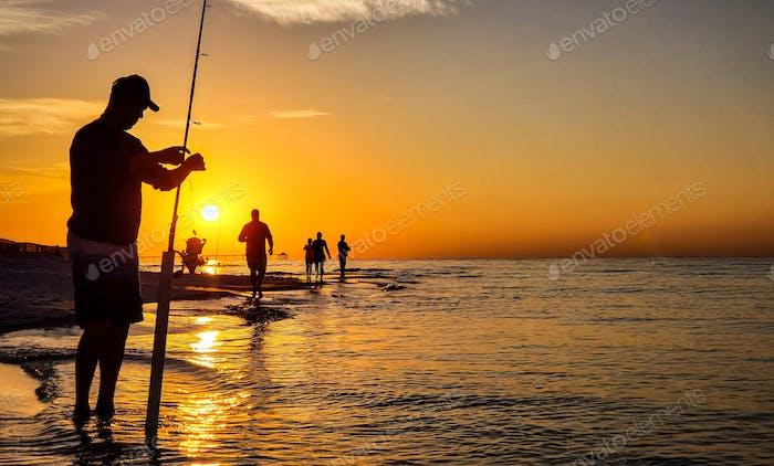 Fishing in an orange sea...
