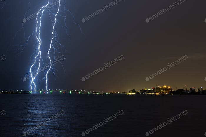 Massive lightning storm over the Ringling Bridge, and downtown Sarasota, FL