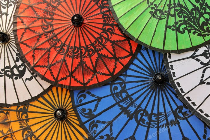 Vibrant colours of traditional umbrellas from Myanmar (Burma)