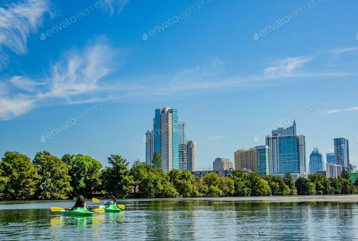 Kayakers on Lady Bird Johnson Lake in beautiful Austin, Texas.