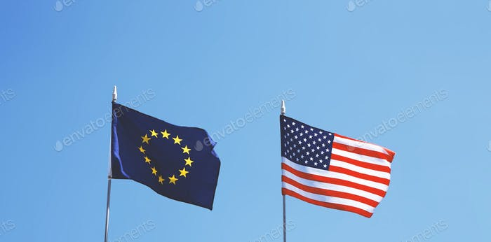 flags of Europe and United States of America next to each other - EU and USA