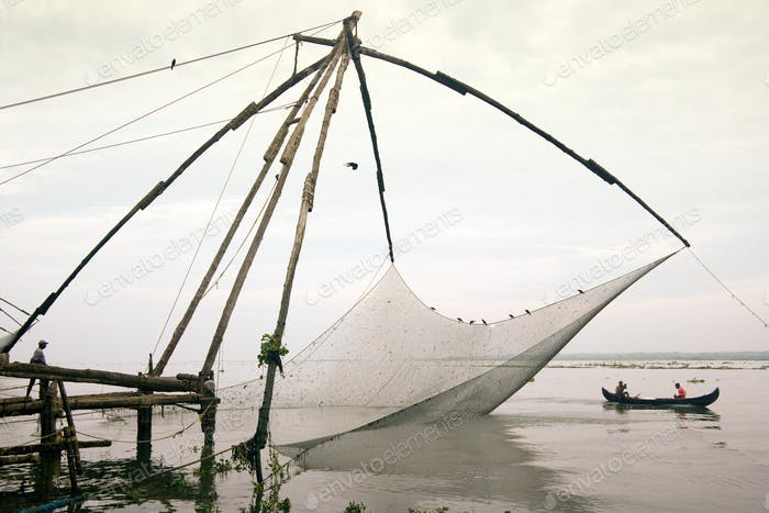 Chinese Fishing nets at Kochi in the Kerala region of southern India