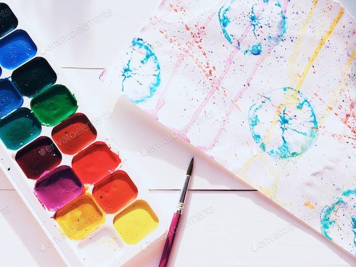 Paints, brushes