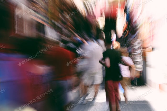 Motion blur in a street market