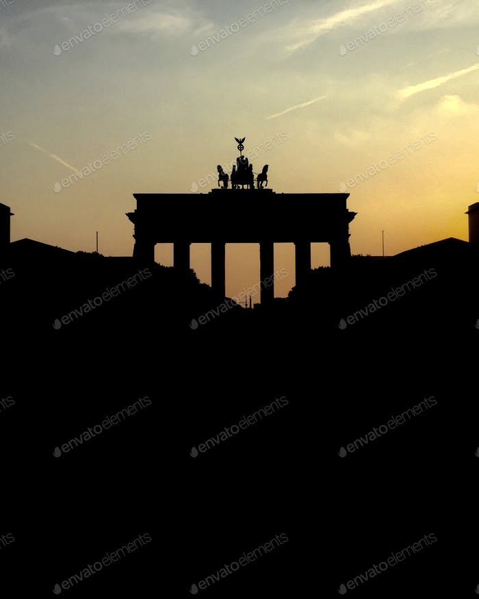 Golden hour. Brandenburg Gate, Berlin, Germany.
