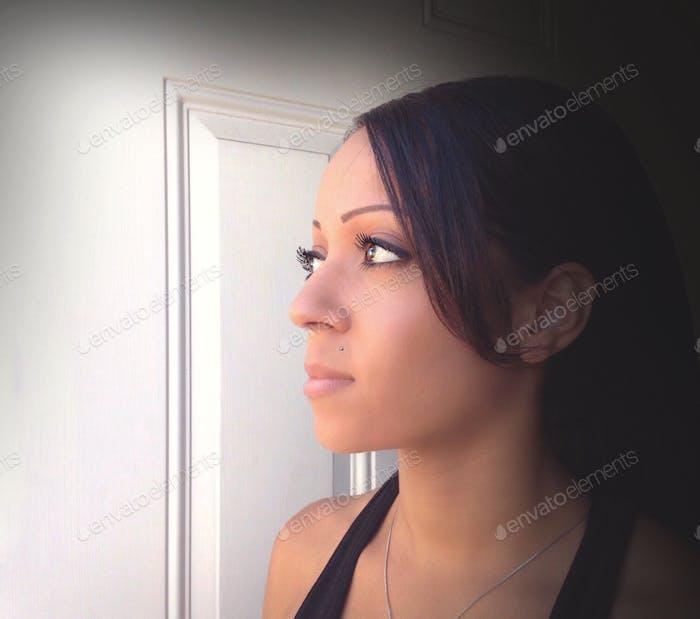 A woman's profile.