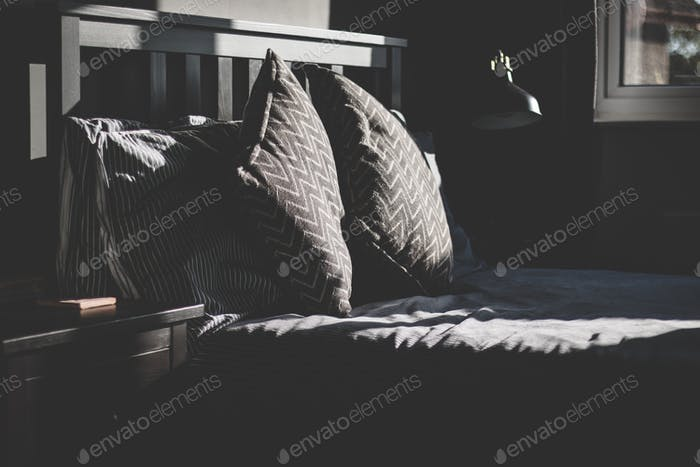 Cushions on a bed.