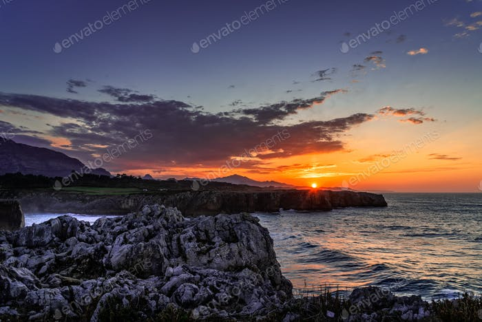 Dramatic view at sunset of cliffs at bufones of Pria in the Cantabrian Sea. Asturias, Spain