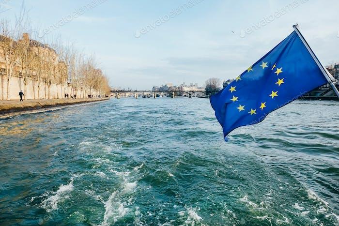 European Union Flag on a boat in Paris, France