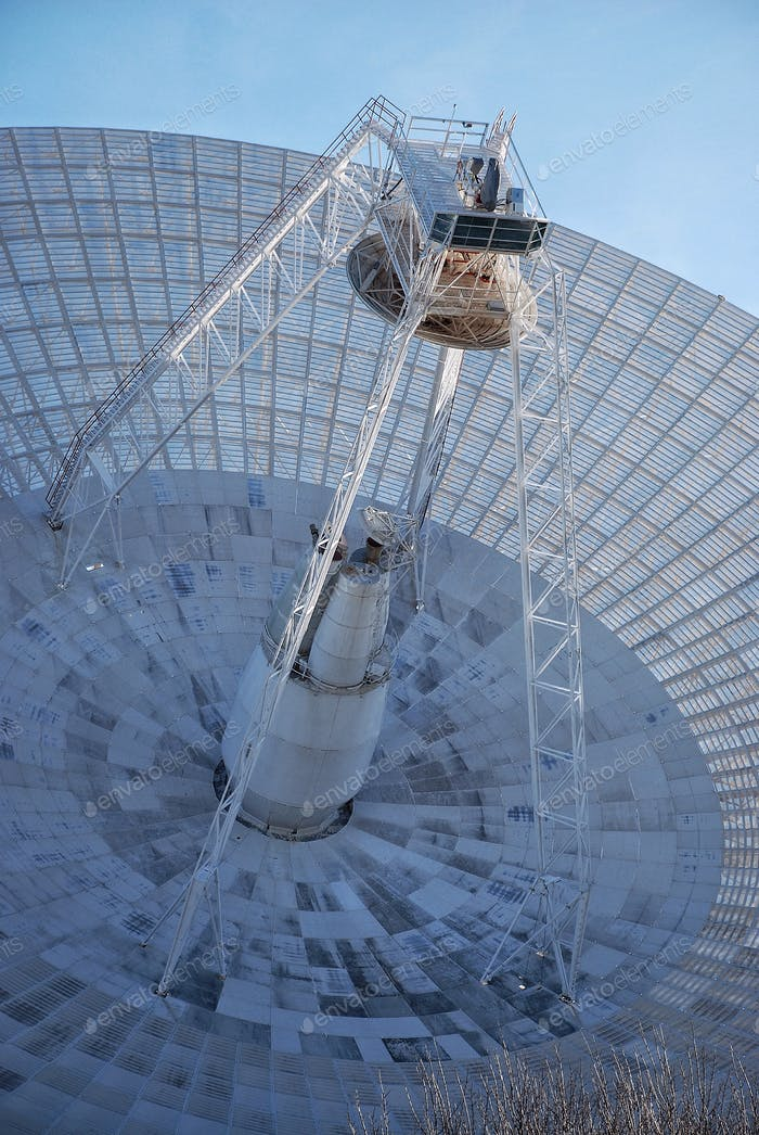 The dish of a radio telescope. Science and technology
