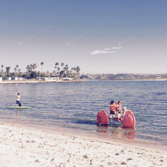 Kids having fun on Mission Bay, San Diego, California