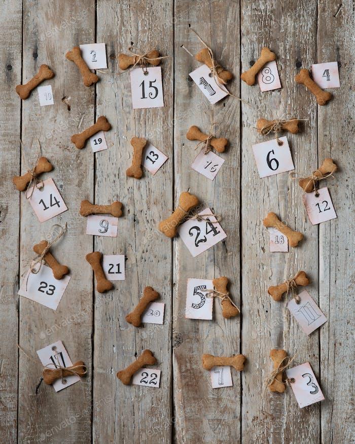 Ein Adventskalender aus Keksen in Knochenform auf einem Holztisch. WITZIGER ADventskalender