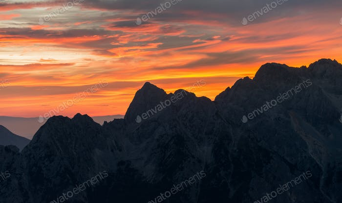 Pink sunrise in the mountains