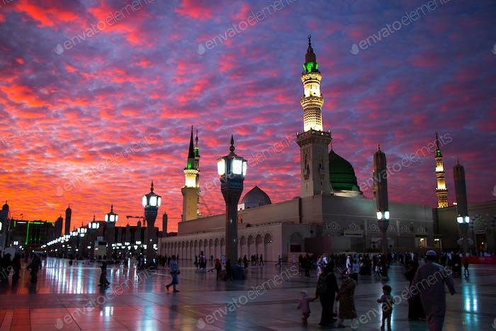Prophet Mohammed Mosque , Al Masjid an Nabawi - Medina / Saudi Arabia , Sunset