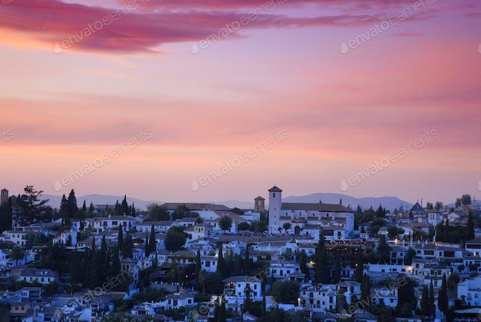 Spectacular sunset sky over the Albaicin district of Granada