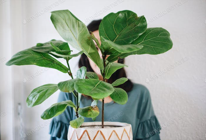 Woman holding houseplant