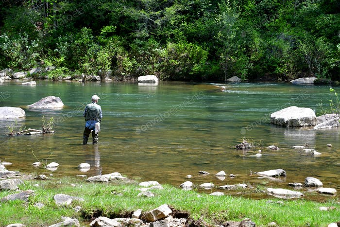 Fisherman fly fishing in a river in the mountains of Virginia