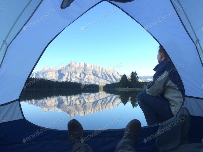 Camping on lake Minnewanka. Banff National park.