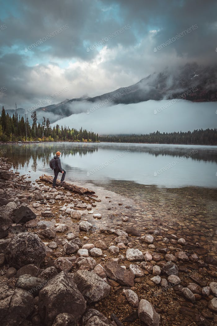 Foggy morning, Jenny lake and the sound Elk bugling near by