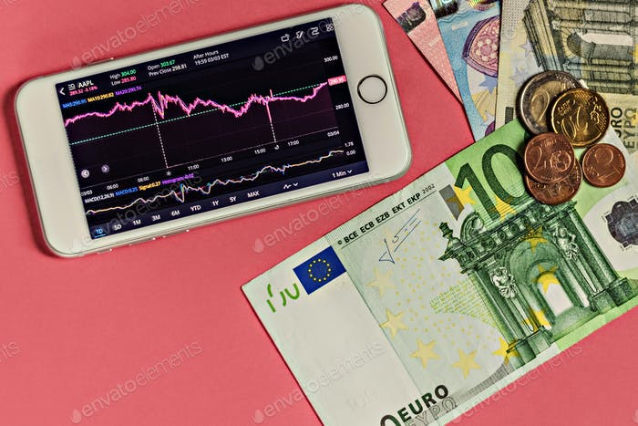 A growing currency exchange chart on a smartphone screen with changes in the foreign exchange market