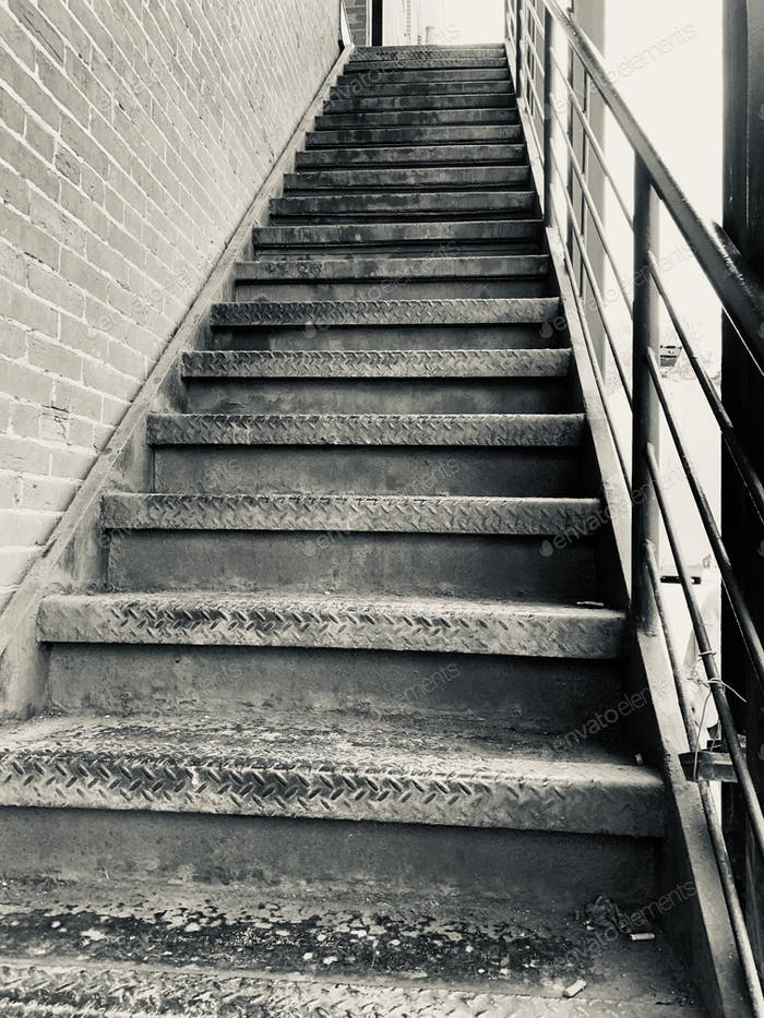 City Staircase In Grayscale