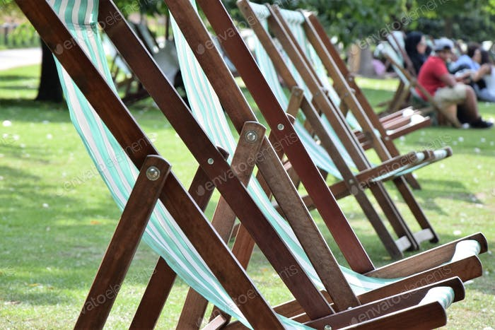 Deckchairs in the park on a sunny day