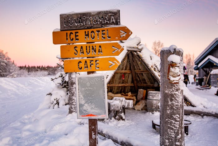 Signage amongst the snow in lapland