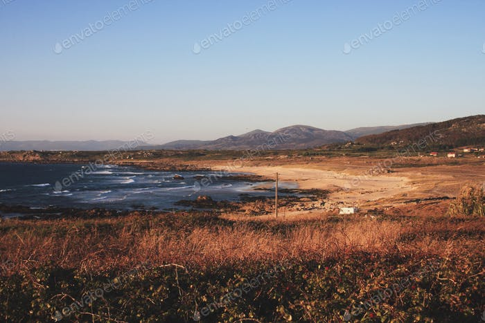 Isolated beach at fall
