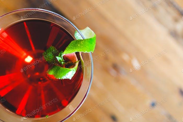 Red Drink with Garnish