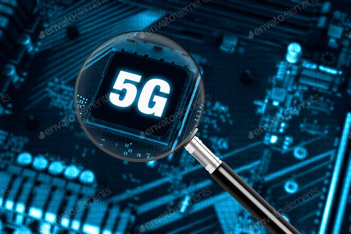 Concept of high-speed 5G internet network technology with magnifying glass on modern circuit board