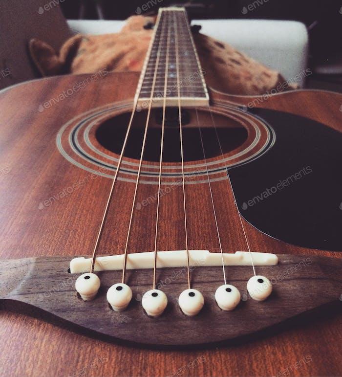 Closeup on an acoustic guitar