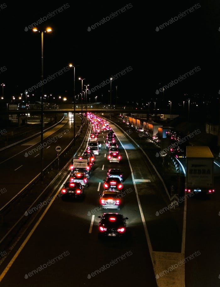 Traffic jam at night, motorway, highway, lights.