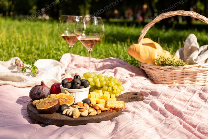 Summer picnic in nature with snacks and wine