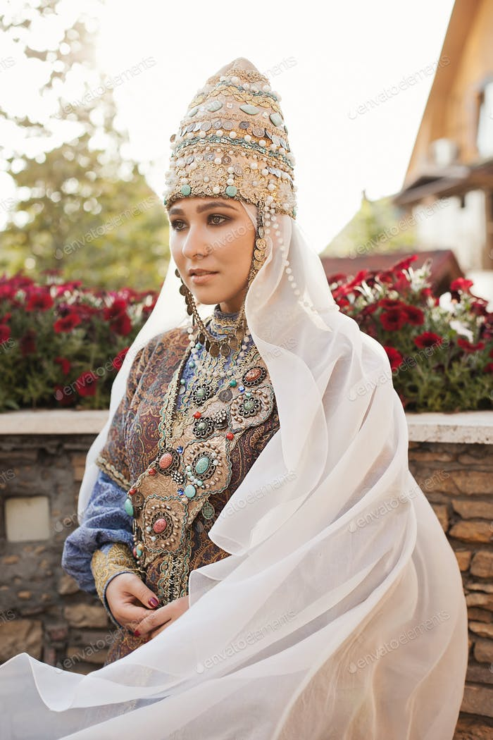Global view, woman wearing traditional Tatar costume, ethnic, non-western cultures