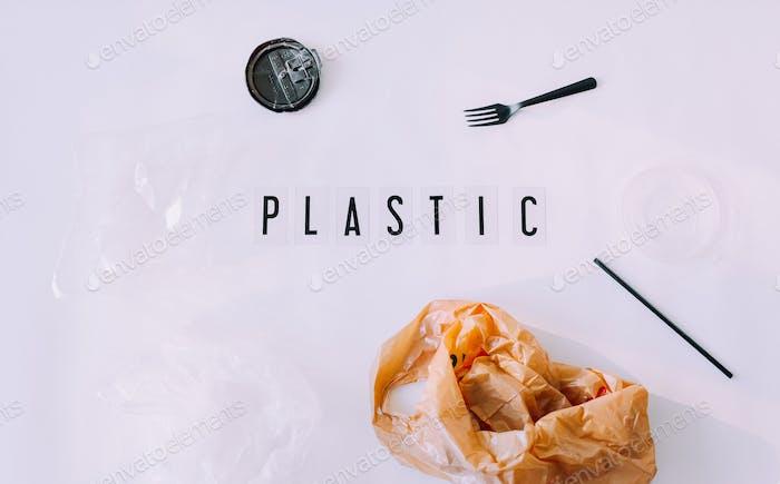 Kunststoffabfälle, sagen Sie Nein zu Kunststoff, kein Kunststoff