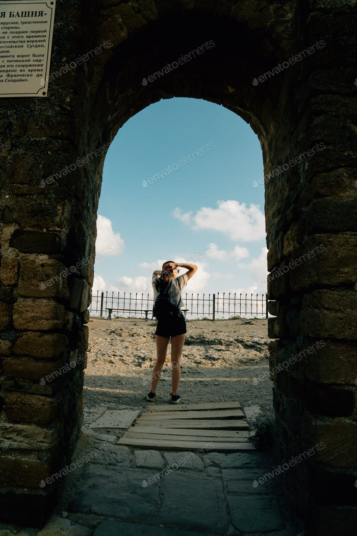 girl in an ancient fortress
