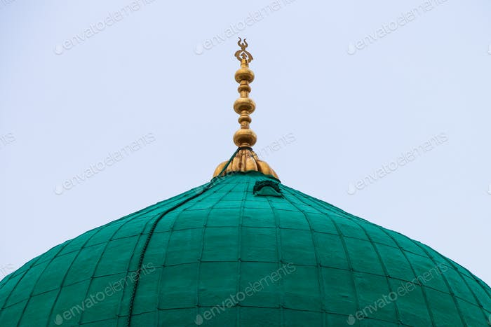 Green Dome   turquoise Close up - Prophet Mohammed Mosque , Al Masjid an Nabawi - Medina
