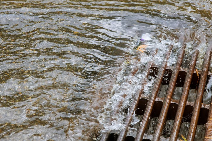 Very heavy rainfall in the water caused by heavy rain drains into the sewers immediately.